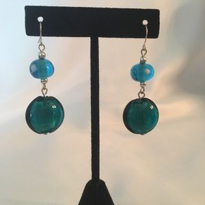 Vintage Turquoise Drop Dangle Pierced Earrings